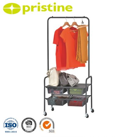 Metal Rolling Garment Rack with 4 Drawers - 4 heavy-duty casters (2 lockable) make this rolling garment rack easy to move or stop anywhere you want to meet your needs.