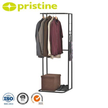 رف للملابس الصناعية مع رف علوي - تضمن القاعدة الفولاذية عالية الجودة الاستقرار والمتانة.
