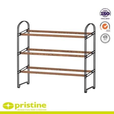 3-Tier Extendable Shoe Rack with Faux Wood Grain - Simple, sturd and modern design that blends seamlessly into your arrangement
