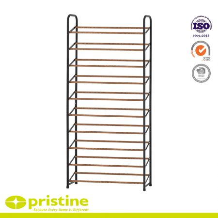 10 Tier Shoe Rack with Wood Grain Rail, Black