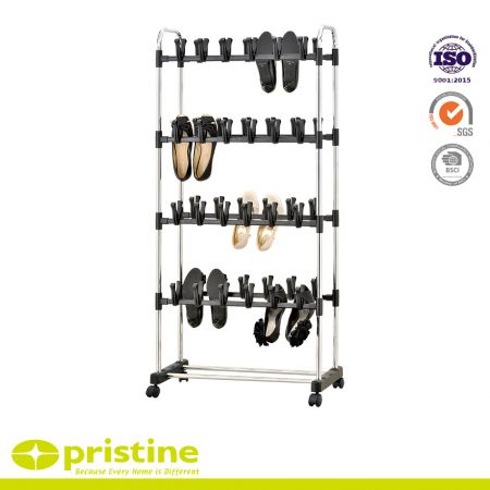 Shoe Holder Stand - 5 tier shoes rack stand shelf with wheels