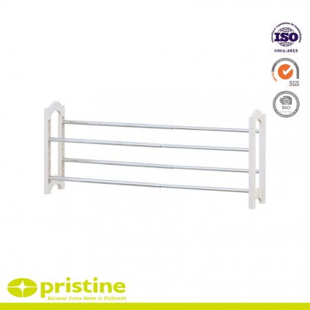 Extendable 2-Tier Shoe Rack - 2-tier shoe rack can be extendable and stackable