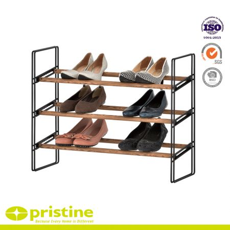 3-Tier Extendable Shoe Rack with Faux Wood Grain - Sturdy and modern design that blends seamlessly into your arrangement