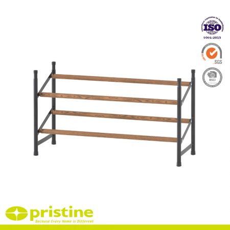 2-Tier Expandable and Stackable Shoe Rack with Faux Wood Grain - Simple, sturdy and modern design that blends seamlessly into your arrangement