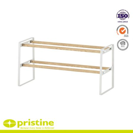 2-Tier Extendable Shoe Rack with Faux Wood Grain - Sturdy and modern design that blends seamlessly into your arrangement
