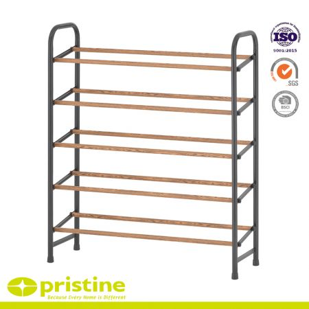 5-Tier Shoe Rack with Faux Wood Grain