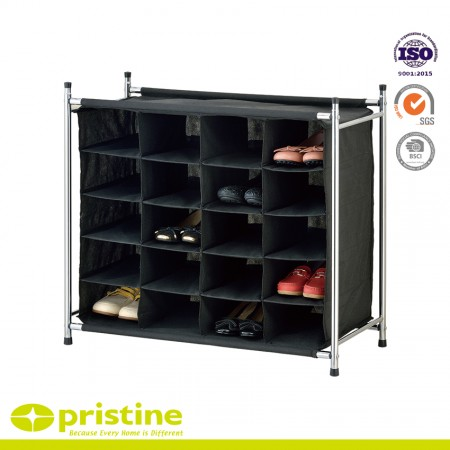 Free Standing Polyester Canvas 5-Tier Shoe Rack Organizer - Shoe rack can store up to 20 pairs