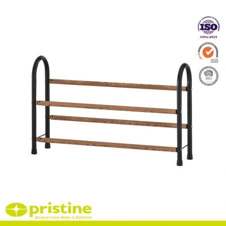 2-Tier Expandable Shoe Rack with Faux Wood Grain - Simple, sturdy and modern design that blends seamlessly into your arrangement