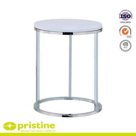 Round Metal Side End Table with MDF Top - Functional and stylish and easy to assemble and fits in small spaces