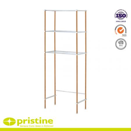 4-Tier Metal Bathroom Shelf Space Saver with Wood Grain