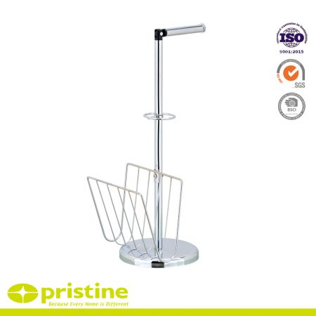 Toilet Paper and Magazine Holder Stand - Sturdy construction with bright chrome plated metal frame