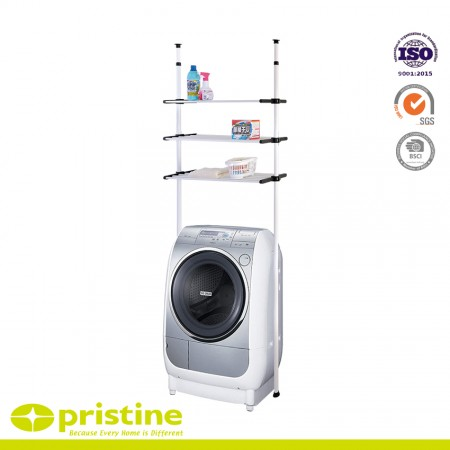 Double Telescopic Washing Machine Height-Adjustable Storage Shelf - Space saver for convenient storage over toilet, over washing machine