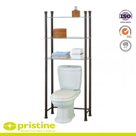 3-Shelf Bathroom Space Saver Storage Organizer Over The Toilet Rack - Reduces clutter and creates extra storage space