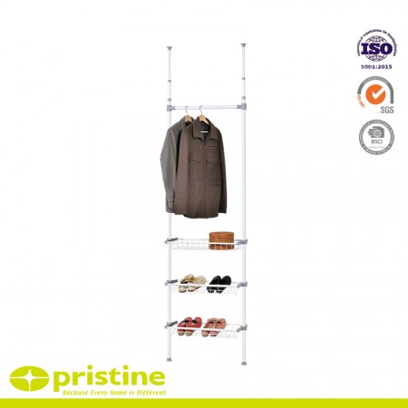 Ceiling Telescopic Storage Shelving with 3 wire baskets - Telescopic shelving system