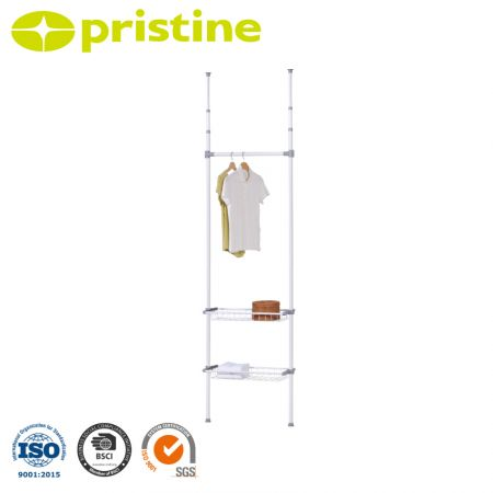 Ceiling Telescopic Storage Shelving with 2 wire baskets - Freestanding Storage Shelving