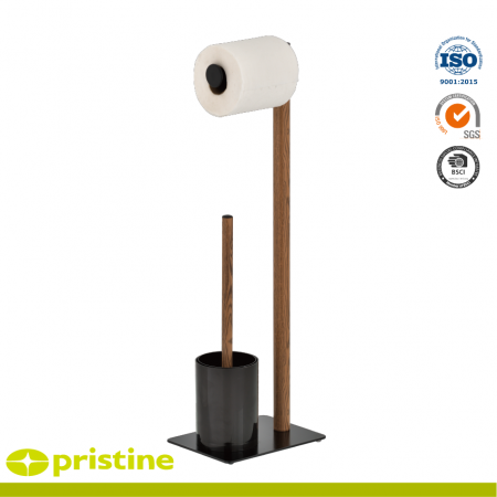 Wood Grain Design Toilet Paper Holder and Toilet Brush Stand - With a modern stylish wood grain design