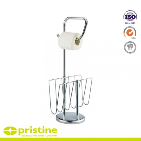 Free Standing Toilet Paper Holder with Newspaper and Magazine Rack for Bathroom - Holds 1 roll of toilet tissue and dispenses 1 and stores bathroom reading materials