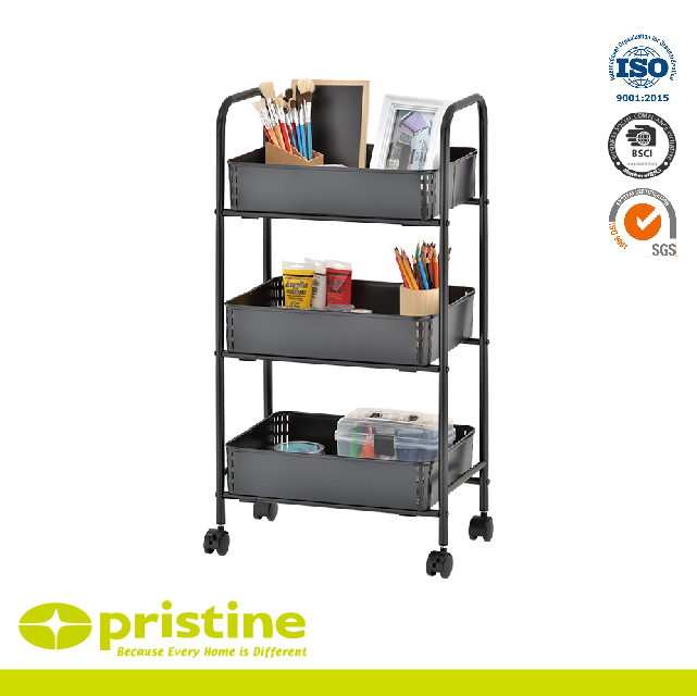 Factory Utility Cart: 3 Tier All Purpose Utility Cart Metal Furniture
