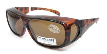 Fit-Overs Großer quadratischer Rahmen - Demi Fassung mit braunen TAC Polarized Gläsern