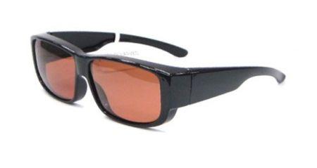 Fit-Overs Quadratischer Rahmen - Schwarzes Gestell mit braunen TAC Polarized Gläsern