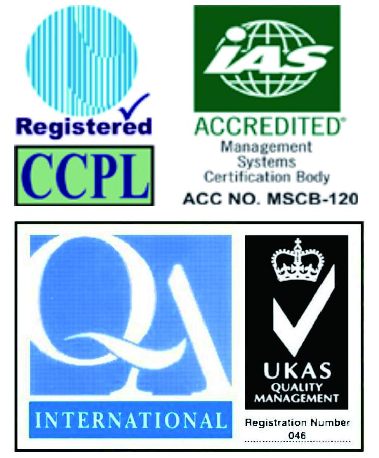 UKAS, ISO 9001: 2015 Bainistíocht Deimhnithe Cáilíochta ar Iarnród Miotail / Ráillí Láimhe / Balustrades      <br />ISO 14001: 2015 Bainistíocht Chomhshaoil Deimhnithe ar Iarnród Miotail / Ráillí Láimhe / Balustrades