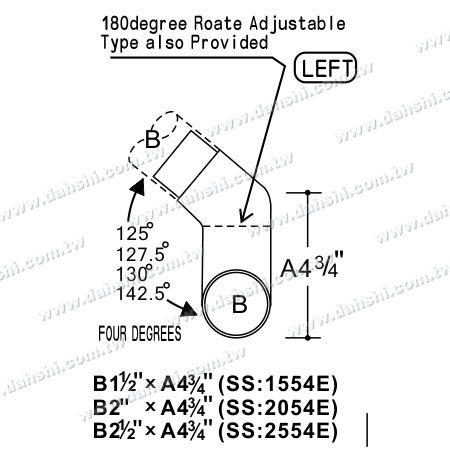 الفولاذ المقاوم للصدأ جولة أنبوب الداخلية درج الزاوية وصلة طول اضافية - زاوية يمكن أن تكون مخصصة - البعد : الفولاذ المقاوم للصدأ جولة أنبوب الداخلية درج ستاير وصلة طول اضافية - زاوية يمكن أن تكون مخصصة