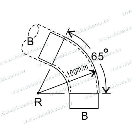 S. S. Round Tube Internal 65° Extra Length Elbow - Dimension:Stainless Steel Round Tube Internal 65° Extra Length Elbow