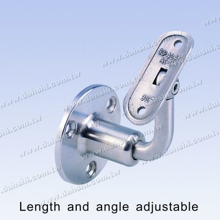 S.S. Round Tube Handrail Wall Bracket Adj. Length - Stainless Steel Round Tube Handrail Wall Bracket Adjustable Length between Wall and Handrail - Angle Adjustable