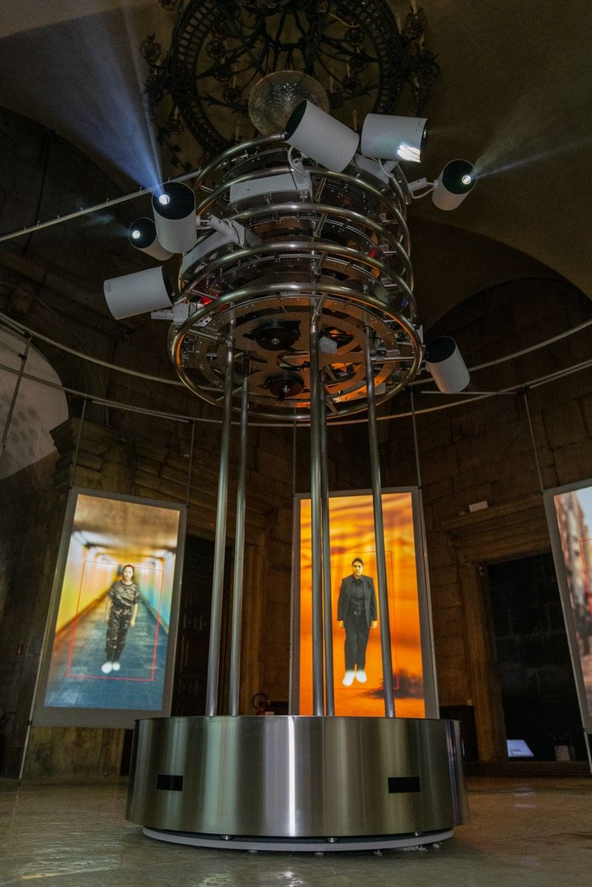 Projection tower installation: Stainless Steel Round Tube connectors apply on Installation Art subverting the image of typical railing system, precise and accurate connect between tubes and fittings which shows the delicate of art.