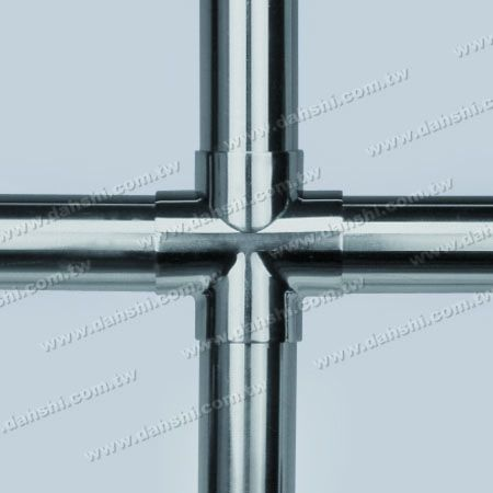 Stainless Steel Round Tube External Cross Ball Connector 4 Way Out - Casting Made