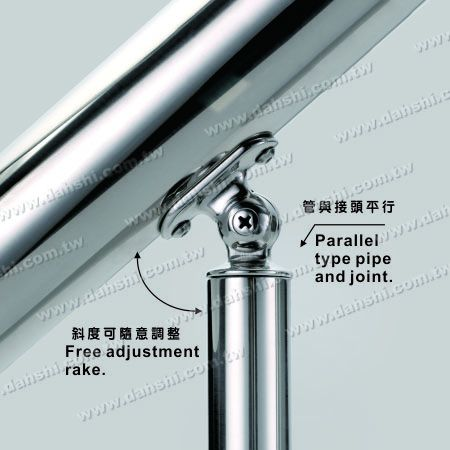 Stainless Steel Round Tube Handrail Perpendicular Post Adjustable Connector Support Radiused Internal Fit