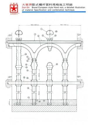 Dah Shi brand European Style Balcony Balustrade.