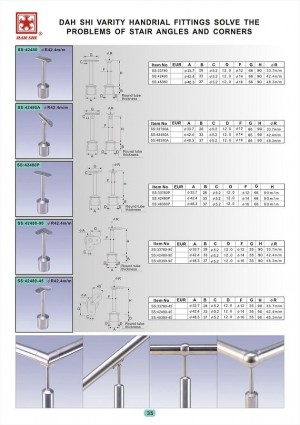 Dah Shi exquisite Stainless Steel Accessories of Handrails / Balustrades / Metal Building Materials. - Dah Shi stainless Steel handnial fittings help you solve the problems of stair angles and corners.