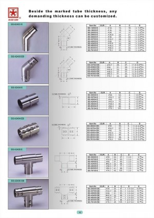 Dah Shi exquisite Stainless Steel Accessories of Handrails / Balustrades / Metal Building Materials. - Beside the marked tube thicknes, any demanding thickness can be customized.
