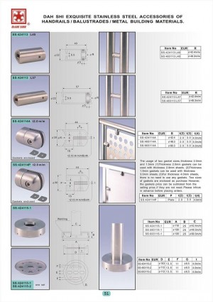 Dah Shi exquisite Stainless Steel Accessories of Handrails / Balustrades / Metal Building Materials. - Complete size plate base for round pipes.