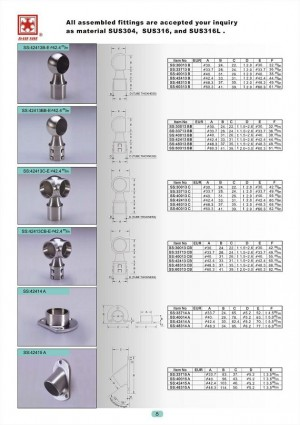 大實不銹鋼管類扶手欄杆,高級精品組合配件 - All assembled fittings are accepted your inquiry as material SUS304,SUS316,and SUS316L.