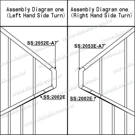 تصویر سازی : لوله استنلس استیل ضد زنگ گوشه داخلی پله داخلی - زاویه قابل تنظیم است