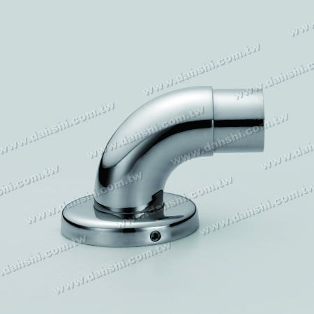 Stainless Steel Round Tube Handrail Support 90degree Elbow with Cover - Screw Invisible