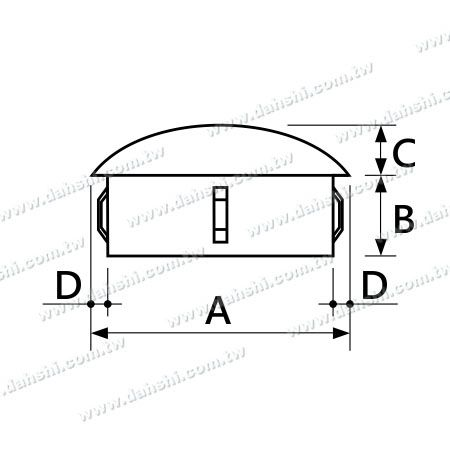 Dimension:Stainless Steel Round Tube Curve Top End Cap with Exit Spring Design - Apply for All Thickness of Round Tube