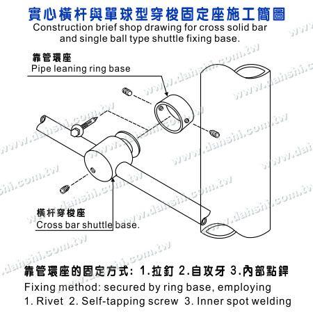 Installing Diagram of Stainless Steel Tube/Bar Holder Go Through