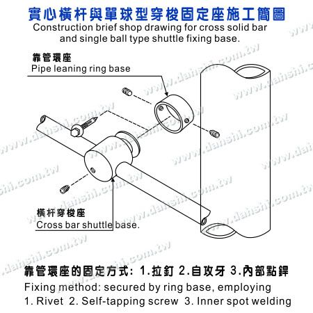 Installing Diagram of Stainless Steel Tube/Bar Holder Go Through
