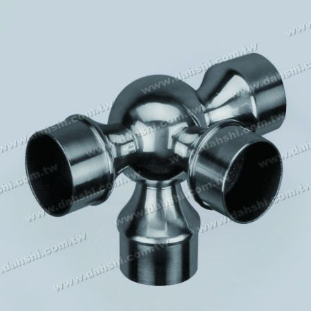S.S. Round Tube Internal 90° Ball Type Conn. 4 Way Out - Stainless Steel Round Tube Internal 90degree Ball Type Connector 4 Way Out