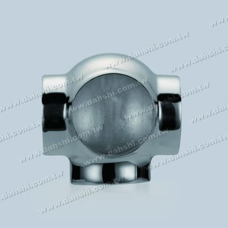 S.S. Round Tube External 90° Ball Connector 4 Way Out - Stainless Steel Round Tube External 90degree Ball Connector 4 Way Out - Stamping Made