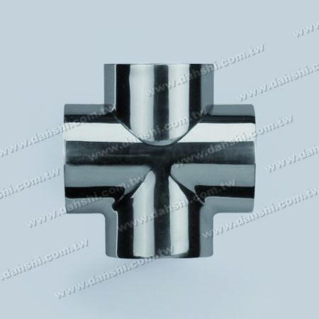 S.S. Round Tube External Cross Connector 4 Way Out - Stainless Steel Round Tube External Cross Connector 4 Way Out