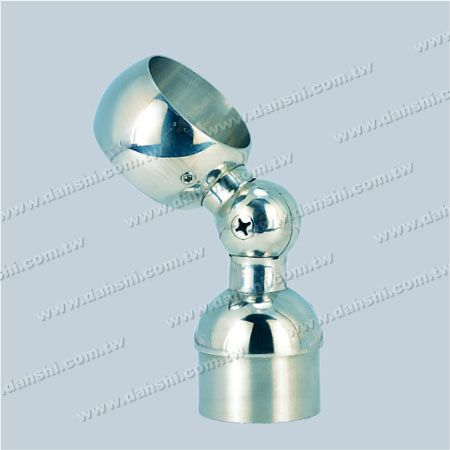 S.S. Round Tube Perp. Post Adj. Conn. Support Through Ring - Stainless Steel Round Tube Handrail Perpendicular Post Adjustable Connector Support Through Ring