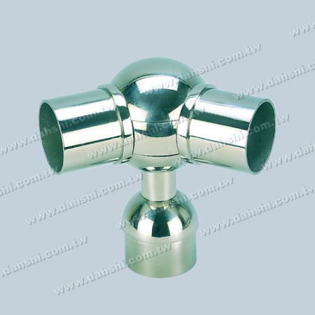 S.S. Round Tube Perp. Post Adj. Conn. Support Ball Type - Stainless Steel Round Tube Handrail Perpendicular Post Adjustable Connector Support Ball Type External Fit