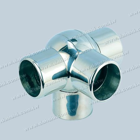 S.S. Round Tube External 90° T Ball Connector 4 Way Out - Stainless Steel Round Tube External 90degree T Ball Connector 4 Way Out