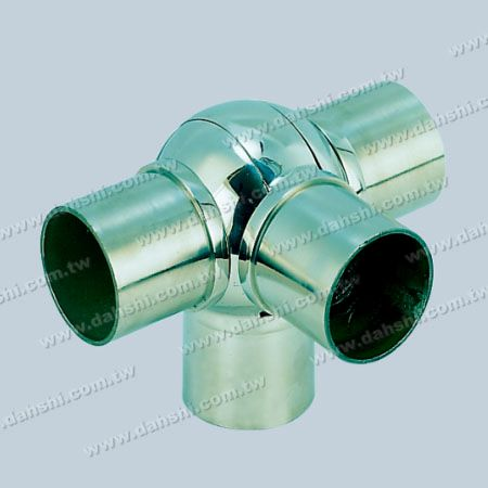 S.S. Round Tube Internal 90° T Ball Connector 4 Way Out - Stainless Steel Round Tube Internal 90degree T Ball Connector 4 Way Out