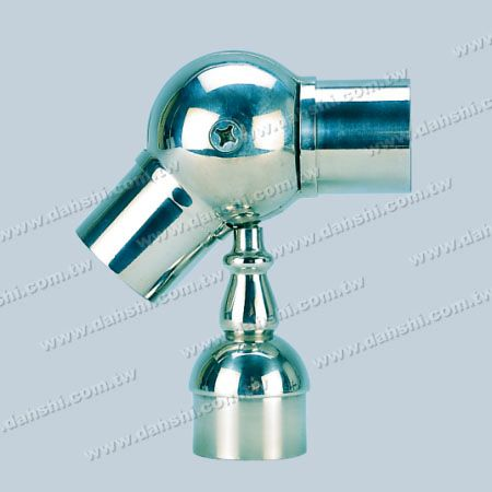 S.S. Round Tube Perp. Post Adj. Conn. Support Decorating Stem - Stainless Steel Round Tube Handrail Perpendicular Post Adjustable Connector Support Ball Type Decorating Stem External Fit