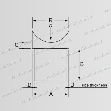 Dimension:Stainless Steel Round Tube Handrail Perpendicular Post Saddle Connector
